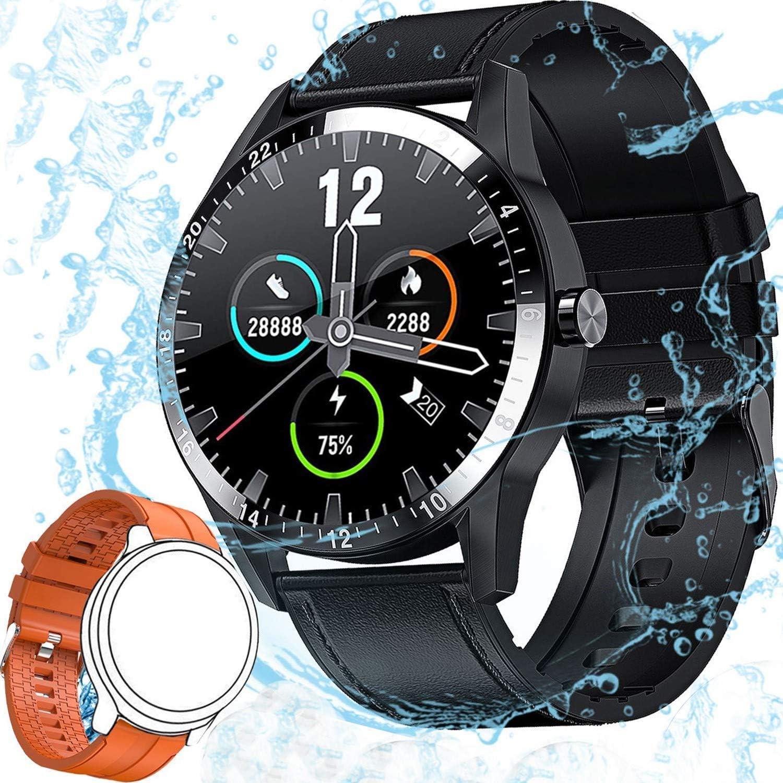 Reloj Inteligente Hombre, Smartwatch Mujer | 168 MB ROM | IP68 Impermeable con micrófono Altavoz, Realizar y Recibir Llamadas, música,14 Modos Deportivos y de Salud Smart watch (Negro y Naranja Correa