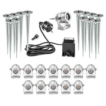 Gartenlicht Strahler 2-8er LED Garten Lampe Bodenstrahler Außen Leuchte Erdspieß