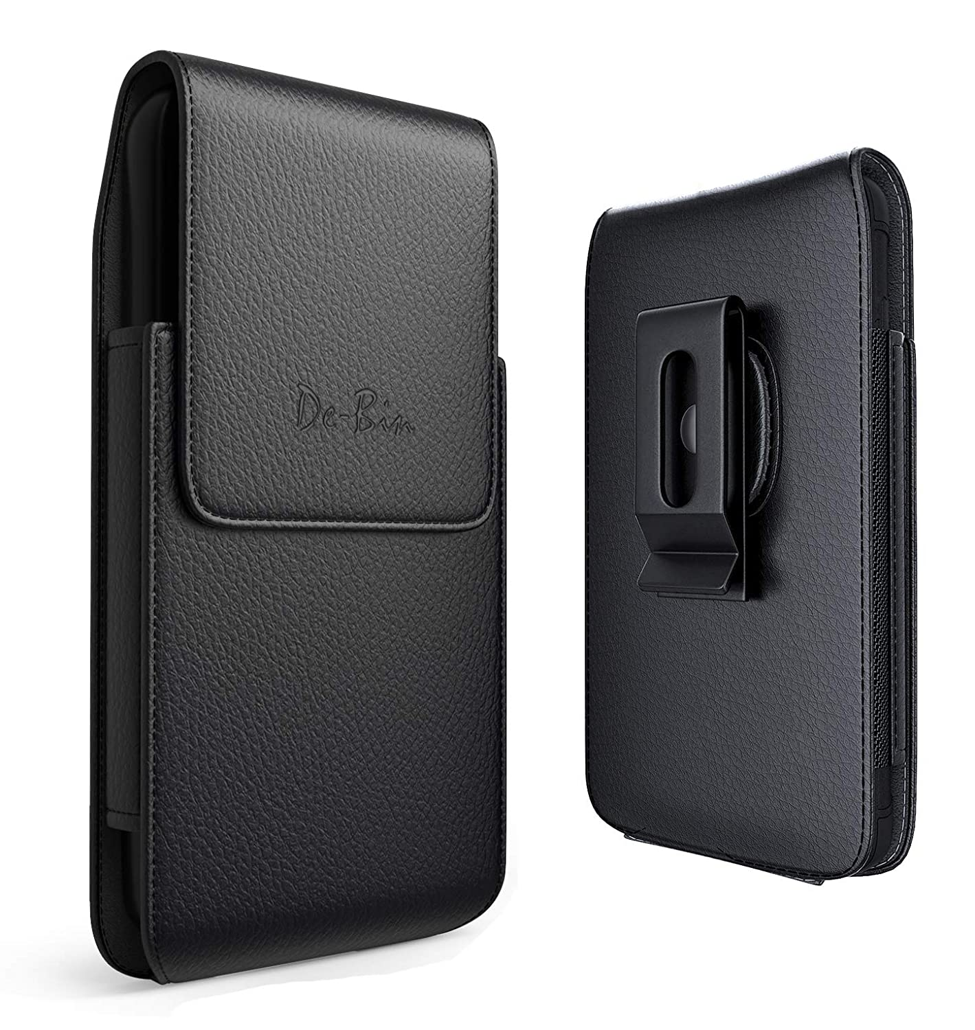 De-Bin iPhone Xs Max Holster Case, iPhone 6 Plus 6S Plus 8 Plus 7 Plus Belt Case with Clip Leather Holster Pouch Carrying Sleeve (Fits iPhone Plus w/Otterbox Commuter Case/Lifeproof Case On)