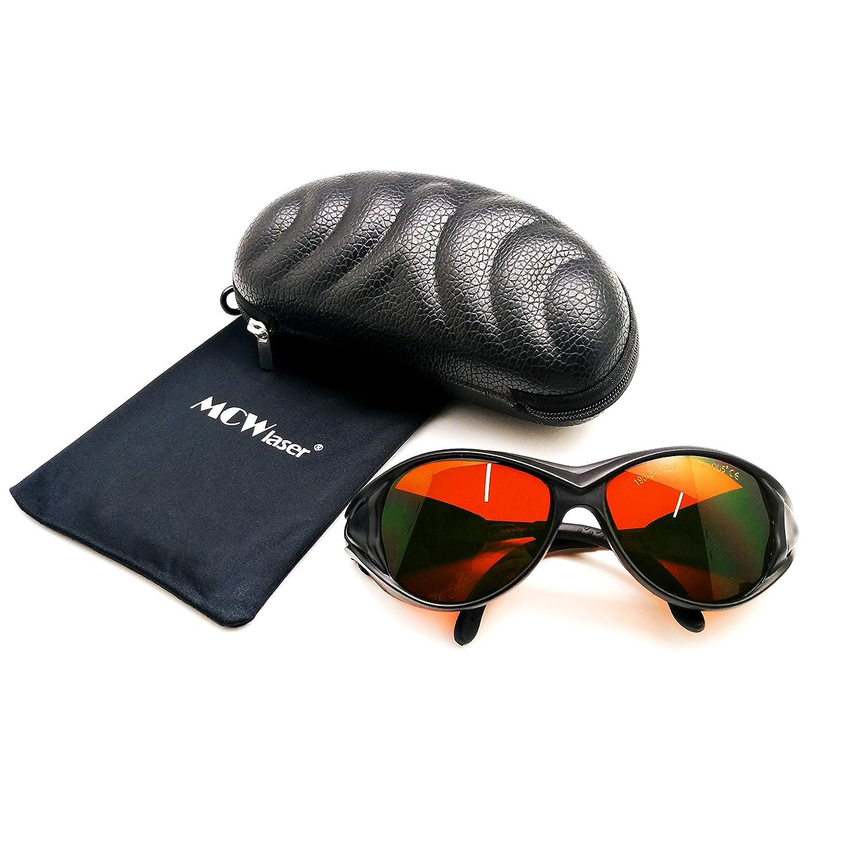 MCWlaser Gafas protectoras de seguridad láser Gafas 190-540 y 800-1700nm Típico para 355nm 405nm 445nm 450nm 473nm 520nm 532nm 808nm 980nm 1064nm Tipo de absorción EP-1 Estilo 2