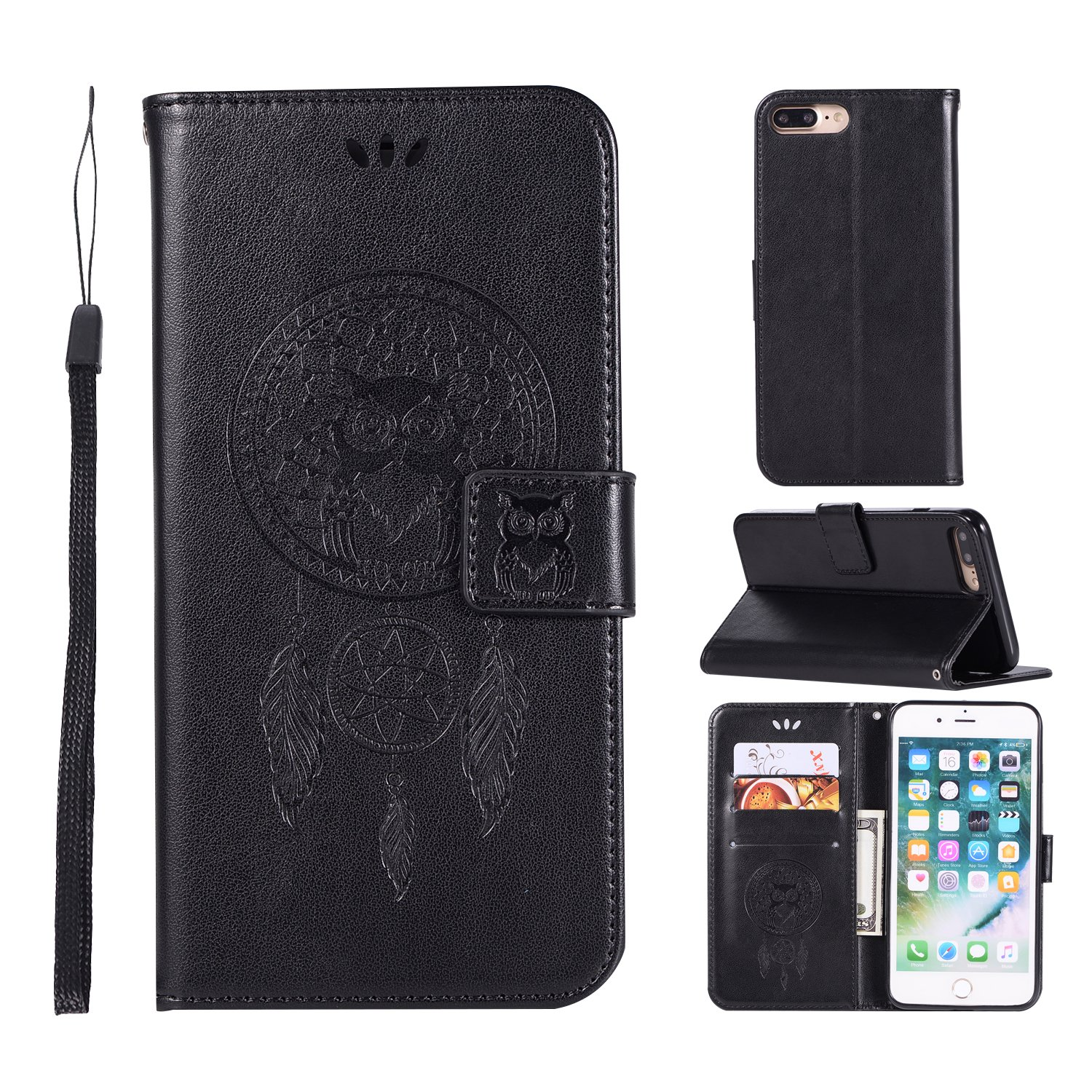 iPhone 8 Plus Case, AIIYG DS Classic 3D Owl Dream Catcher Pattern [Kickstand Feature] Flip Folio Leather Wallet Case with ID and Credit Card Pockets for Apple iPhone 7 8 Plus (Black Owl)