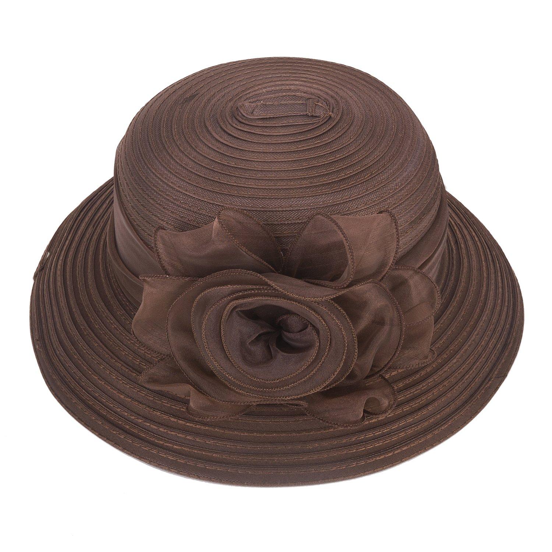 Lawliet Pure Color 1920s Womens Summer Organza Bowler Sun Hat Derby Tea Party A267 (Brown)