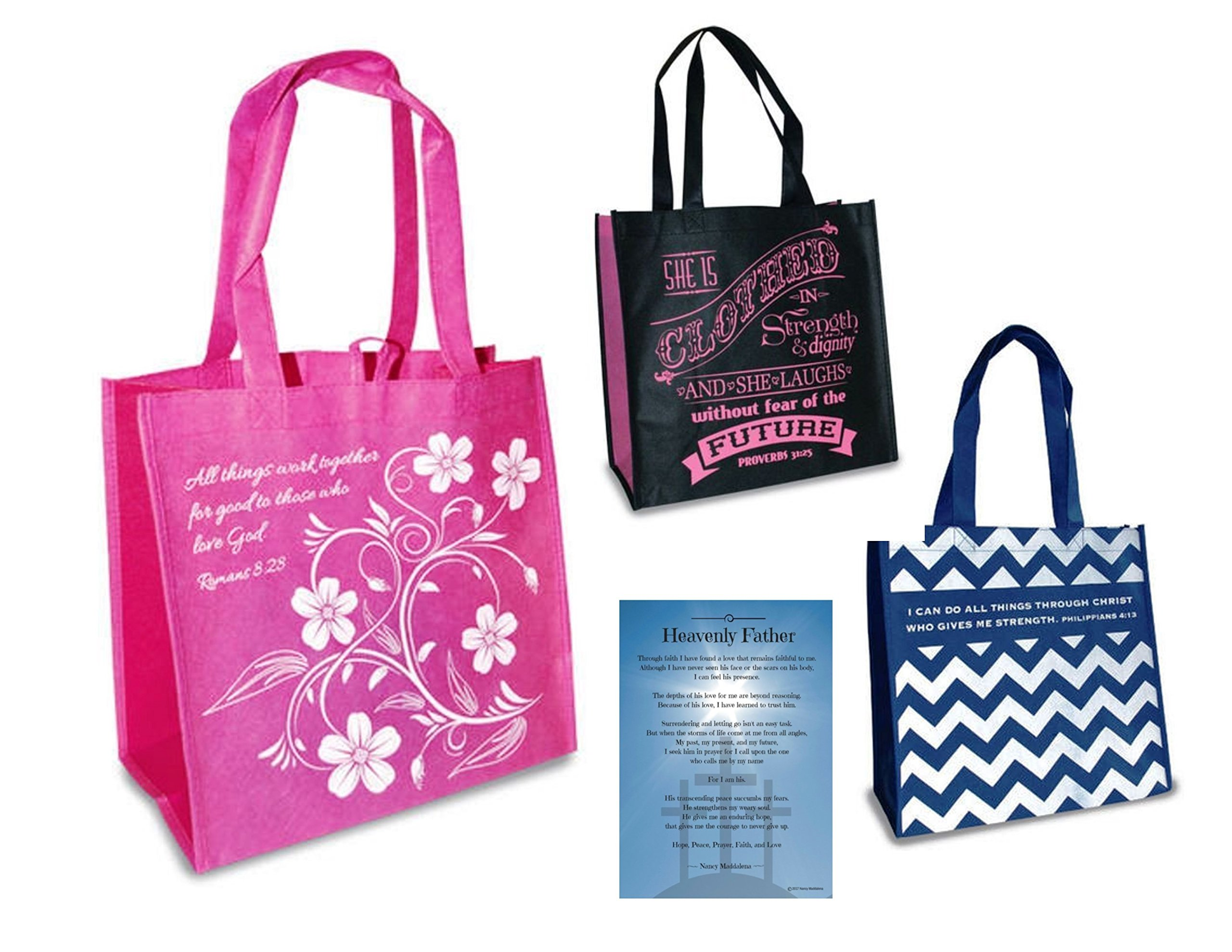Lightdog Unlimited Christian Religious Message Reusable Bag Bundle #1, Eco Friendly, 12 x 12 (3 Pack) Tote Bags
