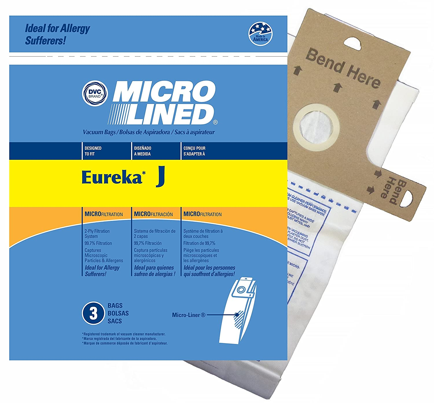 Home Care Products 458287 Eureka Style J MicroLined Replacement Vacuum Bags, 3-Pack