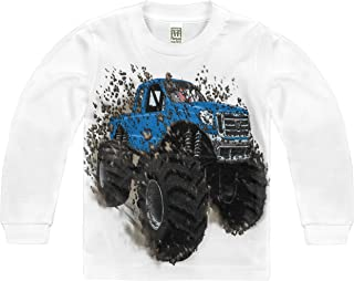 product image for Shirts That Go Little Boys' Long Sleeve Big Blue Monster Truck T-Shirt