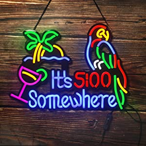 Neon Signs, Art Wall Neon Lights for Bar Beer Bedroom Christmas Decor LED Neon Signs with Parrot Pattern ( 17.7×13inch )