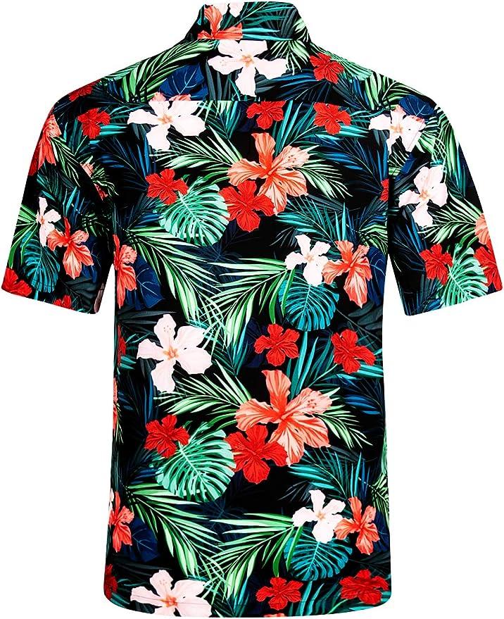zeetoo Hawaiian Shirts for Men Button Down Short Sleeve Tropical Shirts Lightweight Aloha Shirt Quick Dry