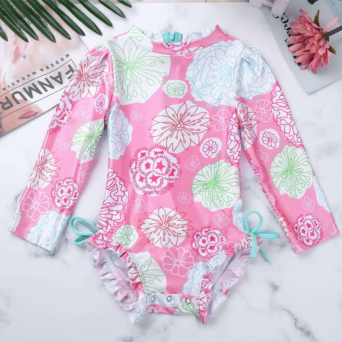 inlzdz Baby Girls One Piece Long Sleeve UV Protective Rash Guard Swimsuit Swimwear All-in-One Wetsuit Sunsuit