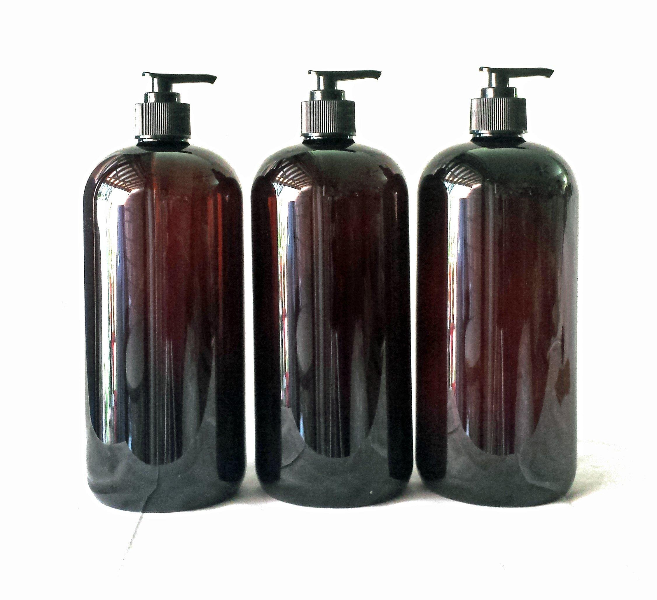 32 oz Amber Plastic PET Plastic Bottle with Black Hand Lotion Pump and Kraft Labels (3)