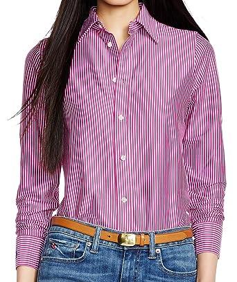 bf3024a0c Polo Ralph Lauren Women s Long Sleeved Knit Dress Shirt Striped Modern Pink  D61 (Small)