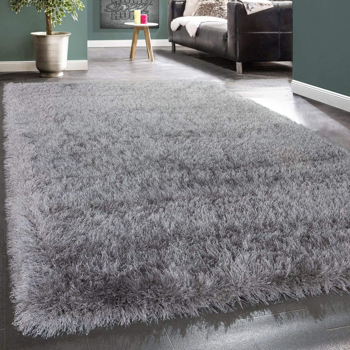 Paco Home Shag Rug High Pile Bedroom Living Room Fluffy Glossy Pastel Yarn, Size 6 7 x 9 6 , Colour Grey