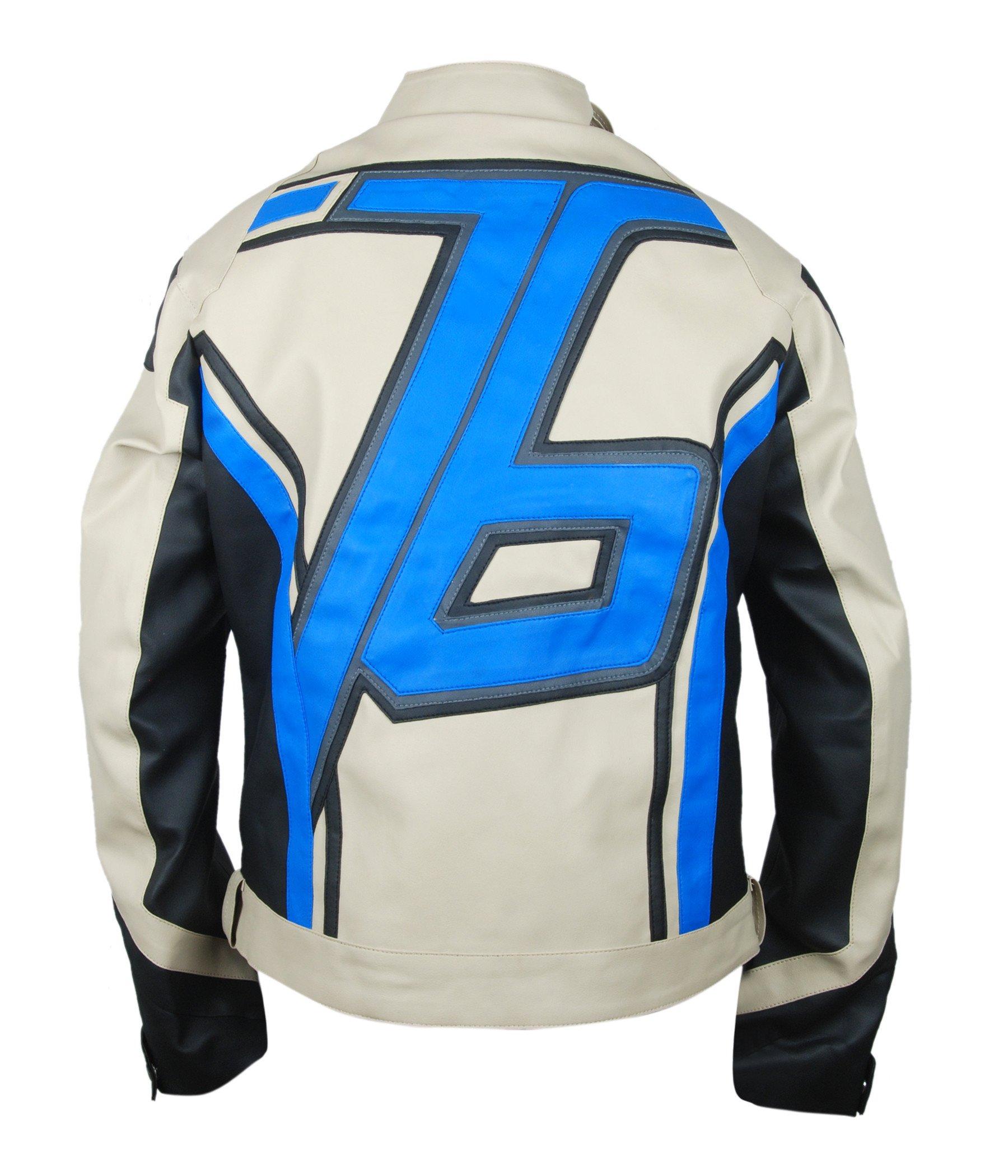 F&H Men's Beige Overwatch Soldier 76 John ''Jack'' Morrison Genuine Leather Jacket L Multi by Flesh & Hide