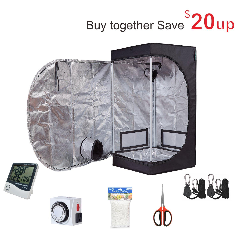 TopoGrow Grow Tent Kit 24 X24 X48 Indoor Plants Growing Analog Timer Humidity Hygrometer Monitor 5X15FT Plant Trellis Netting 60mm Pruner Shear Rope Ratchet 24 X24 X48