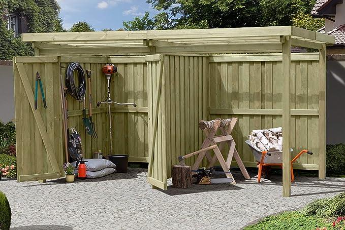 Gartenpirat Cobertizo de jardín, madera con tejado plano tipo 2, con cabaña, 387 x 224 cm: Amazon.es: Jardín