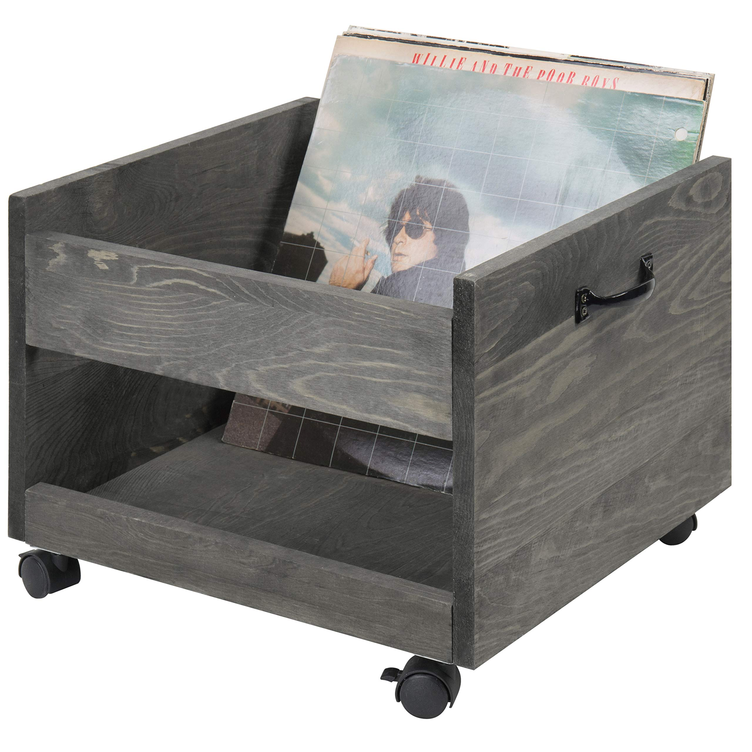 MyGift Vintage Grey Wood Vinyl Record Rolling Storage Crate with Casters by MyGift