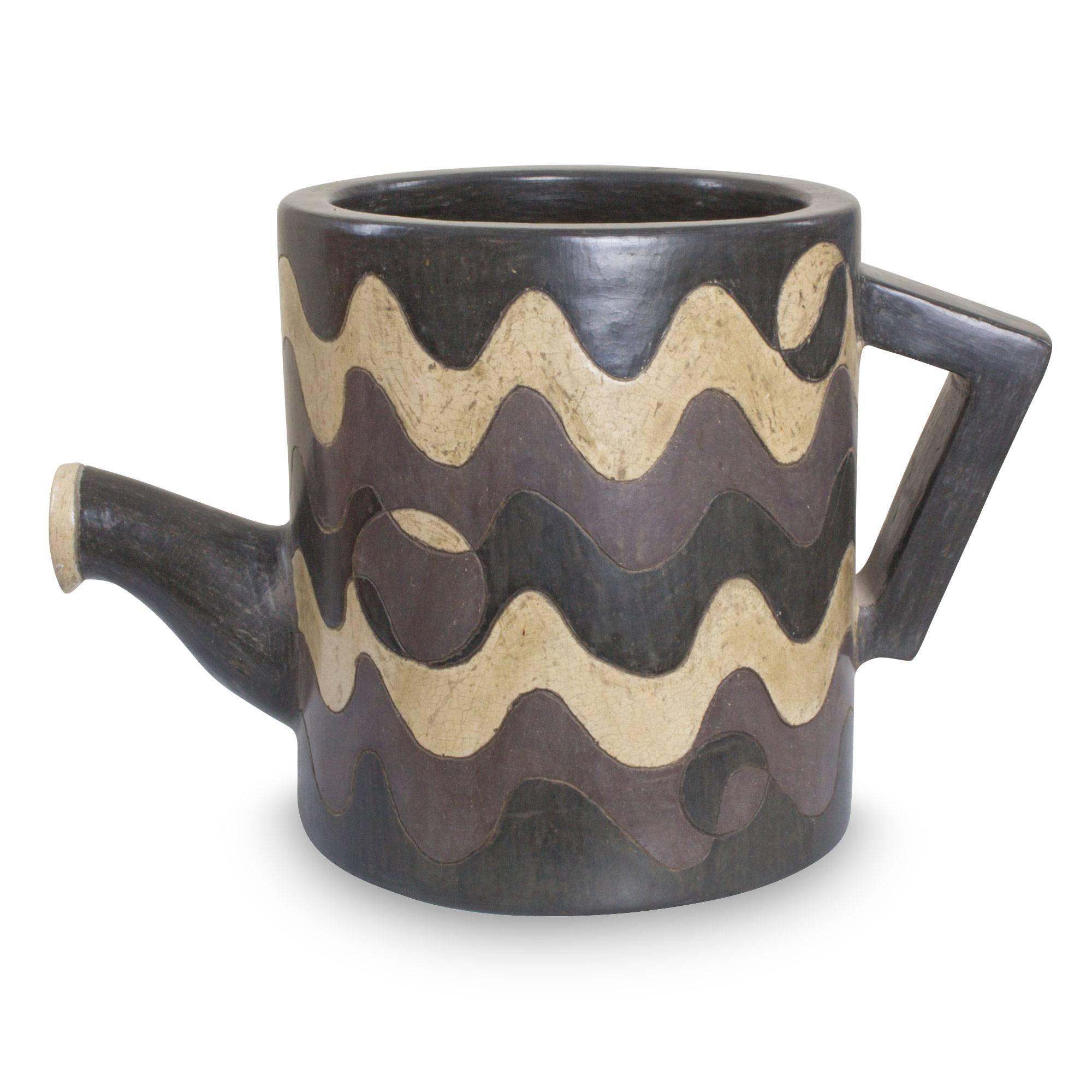 NOVICA Decorative Ceramic Vase, Black 'Whimsical Waves'