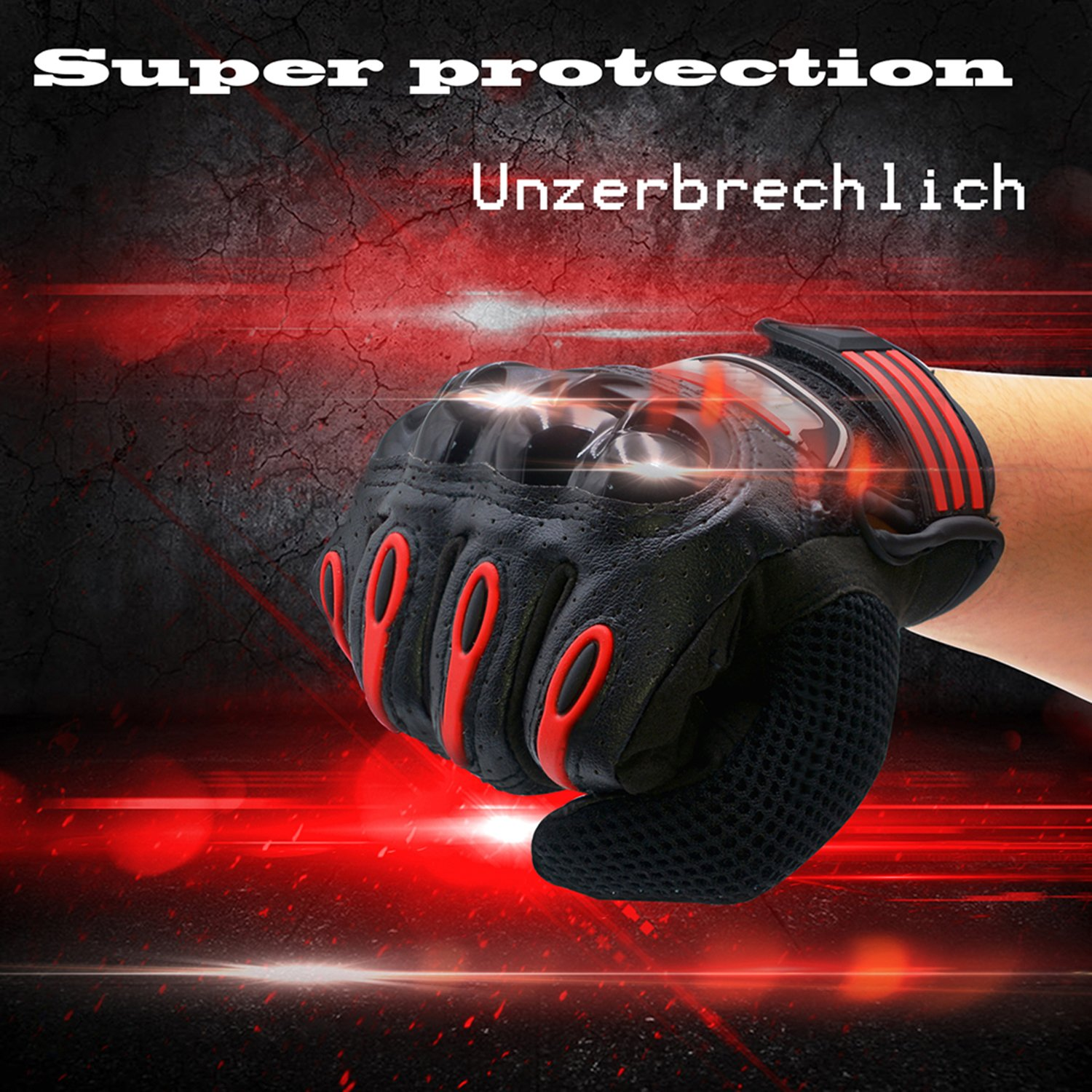 Pro-biker Motorcycle Gloves Unisex Full Finger Touch Screen Powersports Racing Gloves XL QM193 black/&red