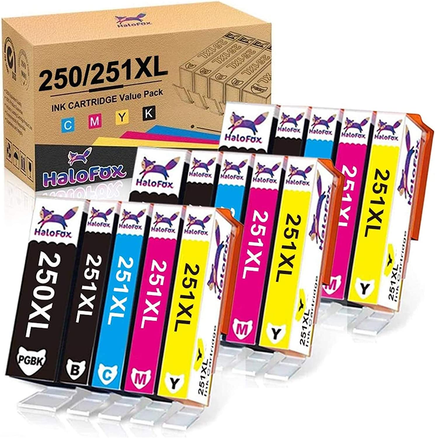 HaloFox Compatible Ink Cartridge Replacement for Canon PGI-250XL CLI-251XL 250 XL 251 XL to use with Canon PIXMA MX922 iX6820 IP7220 MG6320 MG5420 Printer (15 Packs)