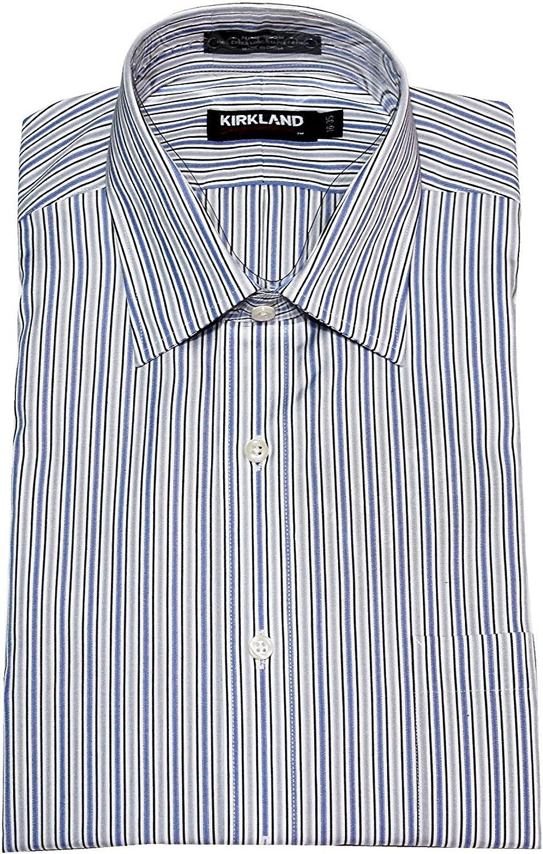 Kirkland Signature Mens Long Sleeve Non-Iron Button Down Dress Shirt, Blue/Grey, 16.5 x 32: Amazon.es: Ropa y accesorios