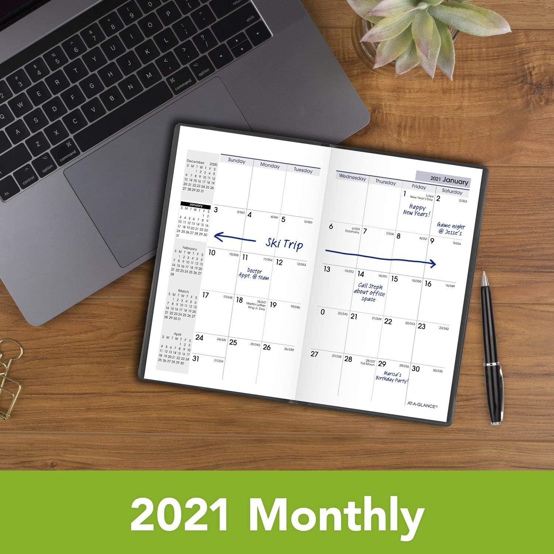 3-1//2 x 6 Black Monthly Planner SK530021 Pocket Size 2021 Pocket Calendar by AT-A-GLANCE DayMinder