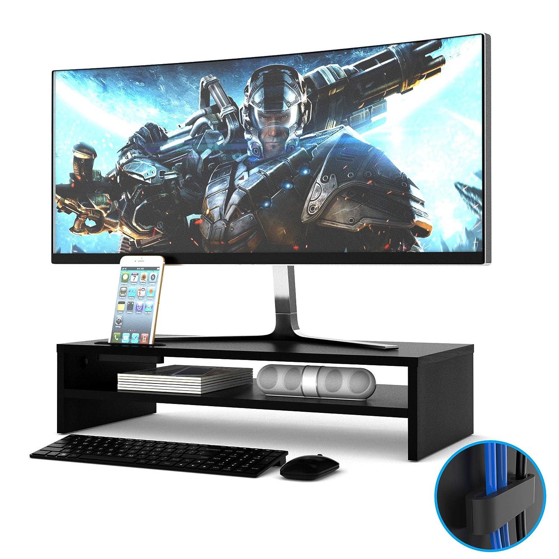 PC Multifunctional Wooden Office Desk Organiser Desktop Computer Screen Riser for TV Laptop Tonsmile Wood Monitor Stand