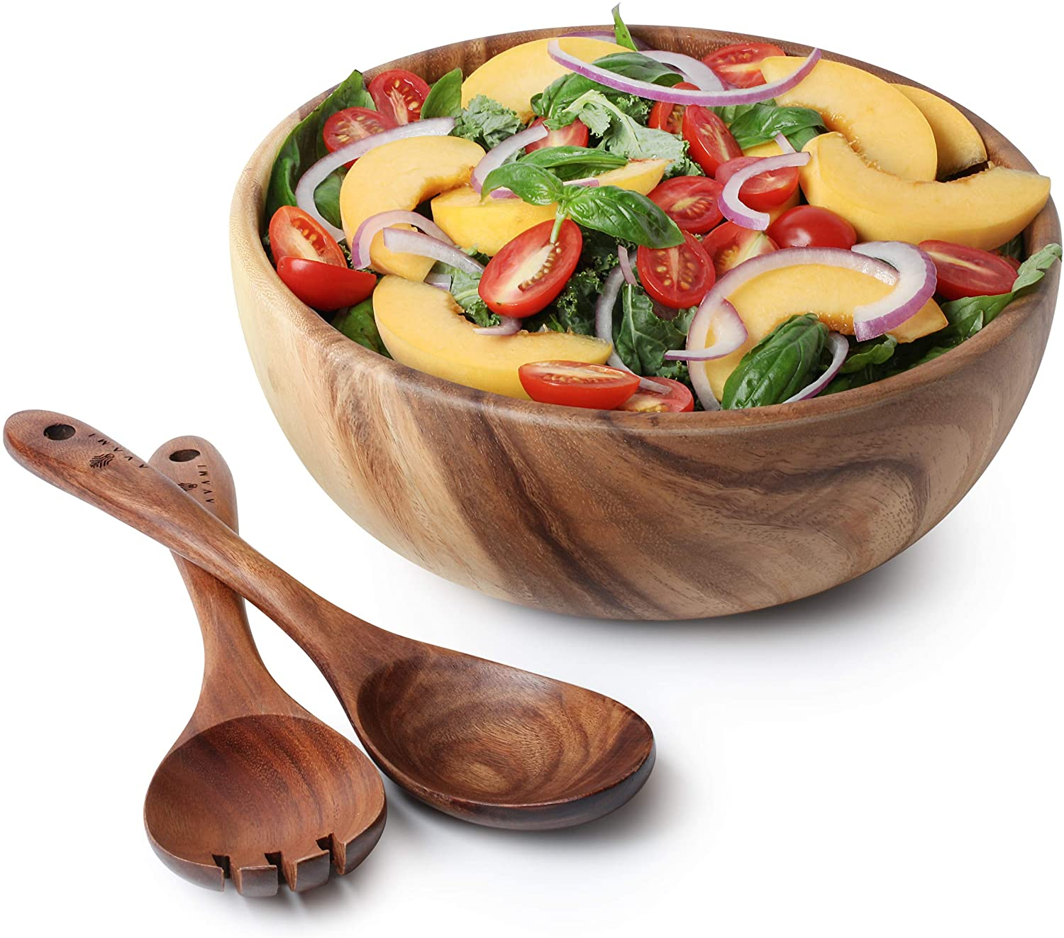 Acacia Wood Salad Bowl with Servers Set - Large 10inches Solid Hardwood Salad Wooden Bowl with Spoon for Fruits,Salads and Decoration by AVAMI