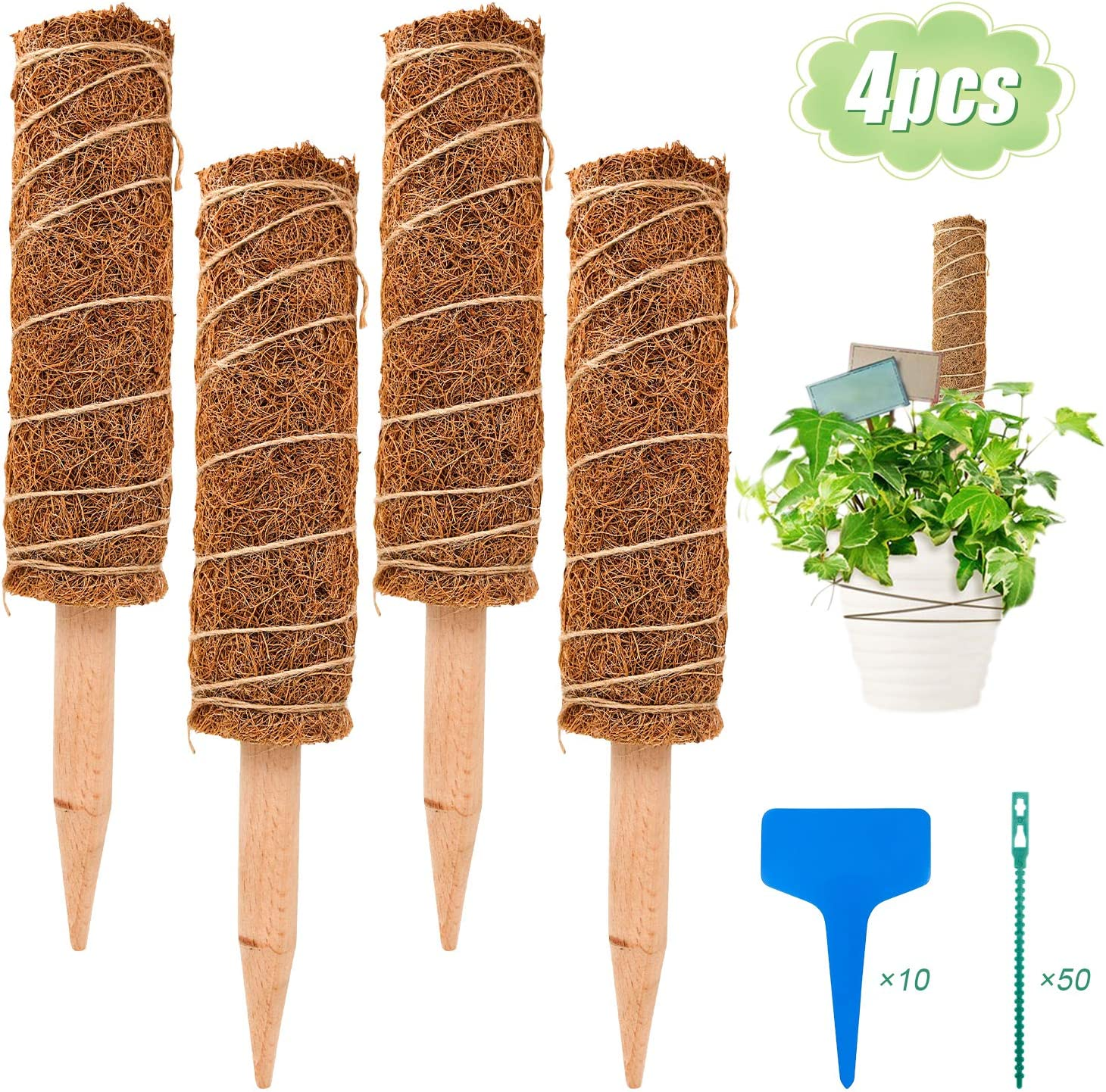 "S-Mechanic 15.7 Inch Coir Totem Pole, 4 Pcs Plant Support Totem Pole Stackable Moss Stick for Climbing Indoor Plant Support Extension, Climbing to Grow Upwards (15.75"")"
