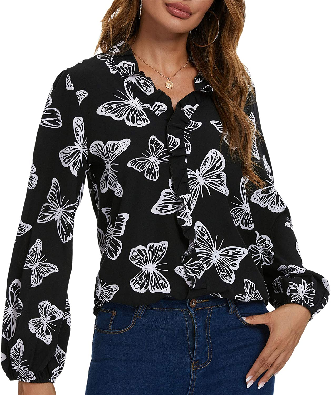 SWEETASE Womens Long Sleeve Print Tops Autumn Lantern Animal Shirt V Neck Ruffle Elegant Office Blouse Shirt for Women