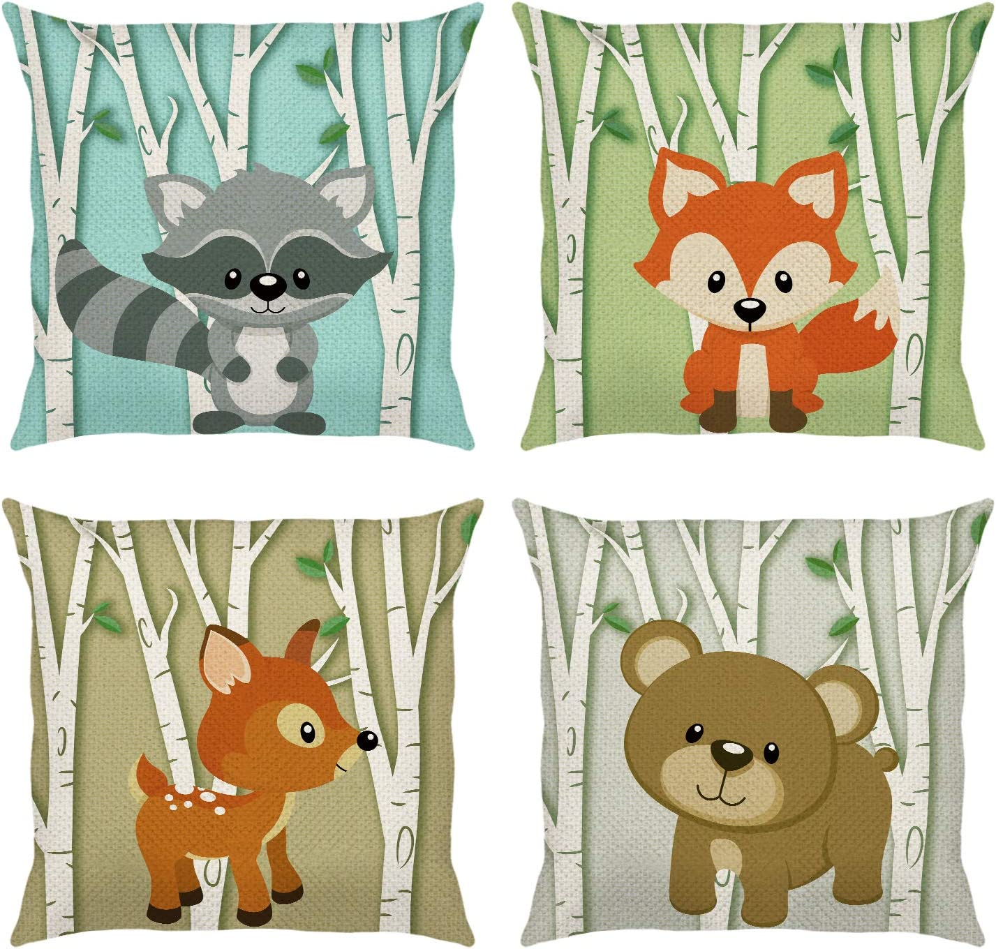 Bonhause Forest Animals Throw Pillow Covers 18 x 18 Inch Set of 4 Deer Fox Birch Tree Decorative Throw Pillow Cases Cotton Linen Outdoor Cushion Covers for Sofa Couch Kids Baby Nursery Room Decor