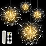 CP3 Firework Lights 120 LED Copper Wire Starburst Lights 8 Modes Rechargeable Power Bank Fairy Lights with Remote, Waterproof