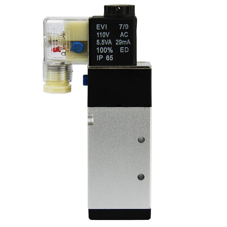 3 8 Npt 5 Way 2 Position Pneumatic Electric Solenoid Valve Ac 110 V 12 Volt Ball Wiring Diagram Industrial Scientific