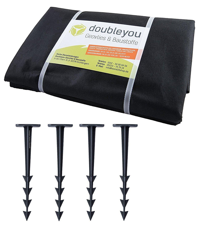 Sandkastenvlies XXL 3, 2 x 3, 2 m schwarz - Schutzvlies für Sandkasten und 4 x Erdanker
