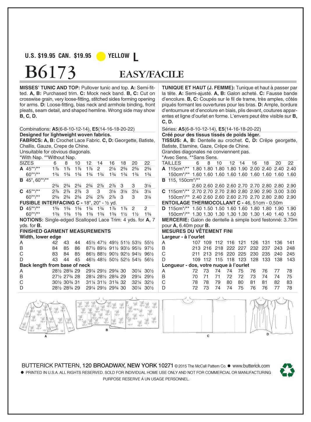 Modisch Butterick BTK 6173 E5 Elegant 14-16-18-20-22 Extravagant Schnittmuster zum N/ähen