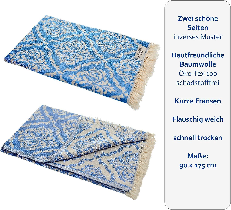 scialle nobile e di alta qualit/à Asciugamano di Hamam Doubleface Carenesse Asciugamano di Hammam BAROCCO blu stola 100/% cotone asciugamano sauna pareo sciarpa telo mare 90 x 175 cm