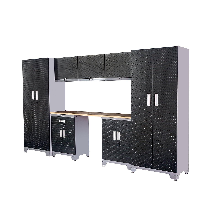 XDDガレージストレージ、ロッカーキャビネットシェルフ – 2018の最も人気新しい設計、合計8 Piece 24ゲージ厚さ、ゴム木製Frontier修飾、ブラックカラー、スペアパーツSupplied B07BSQ6CBN