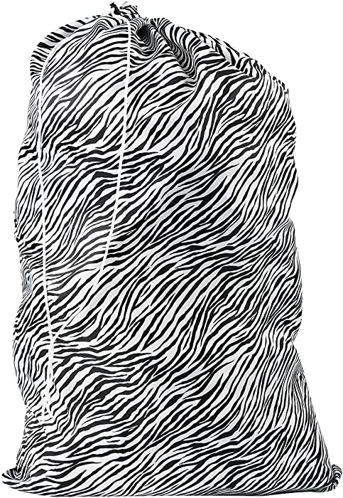 Nylon Laundry Bag - Locking Drawstring Closure and Machine Washable. These Large Bags Will Fit a Laundry Basket or Hamper and Strong Enough to Carry up to Three Loads of Clothes. (Zebra)