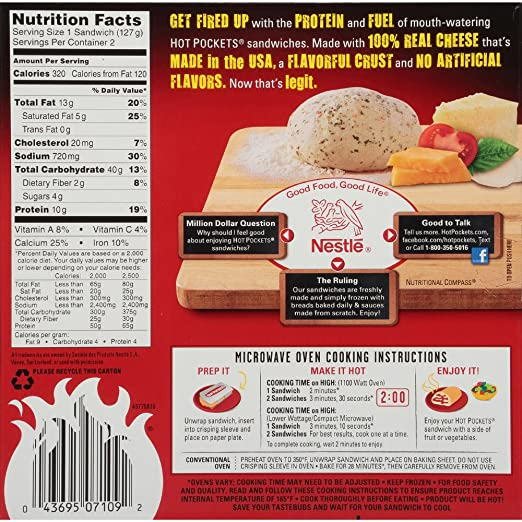 HOT POCKETS Frozen Sandwiches Four Cheese Pizza 2-Pack: Amazon.com: Grocery & Gourmet Food