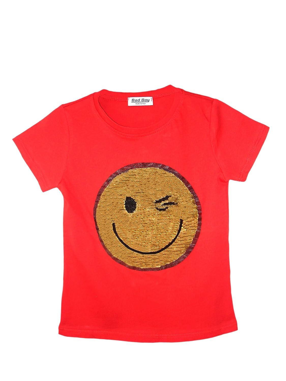 Kids Boys Girls Emoji Emoticons T Shirt TEE TOP Brush Changing Sequin Sizes 3-14 Years