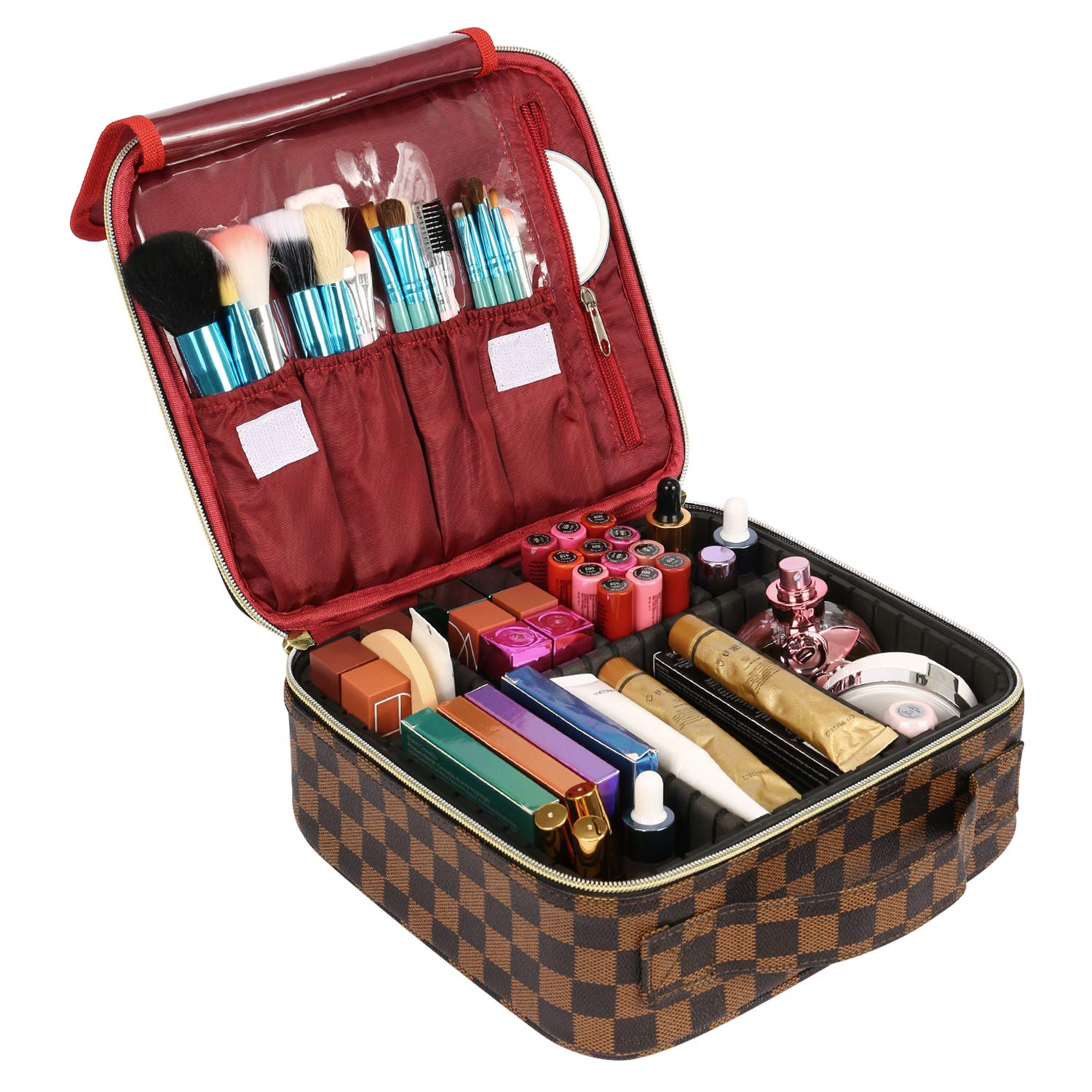 FOOXII Makeup Bag Travel Cosmetic Case Professional Train Case Large Make Up Storage Organizer with Removable Dividers, Hard Shell, Brush Section for Women Girls, Brown