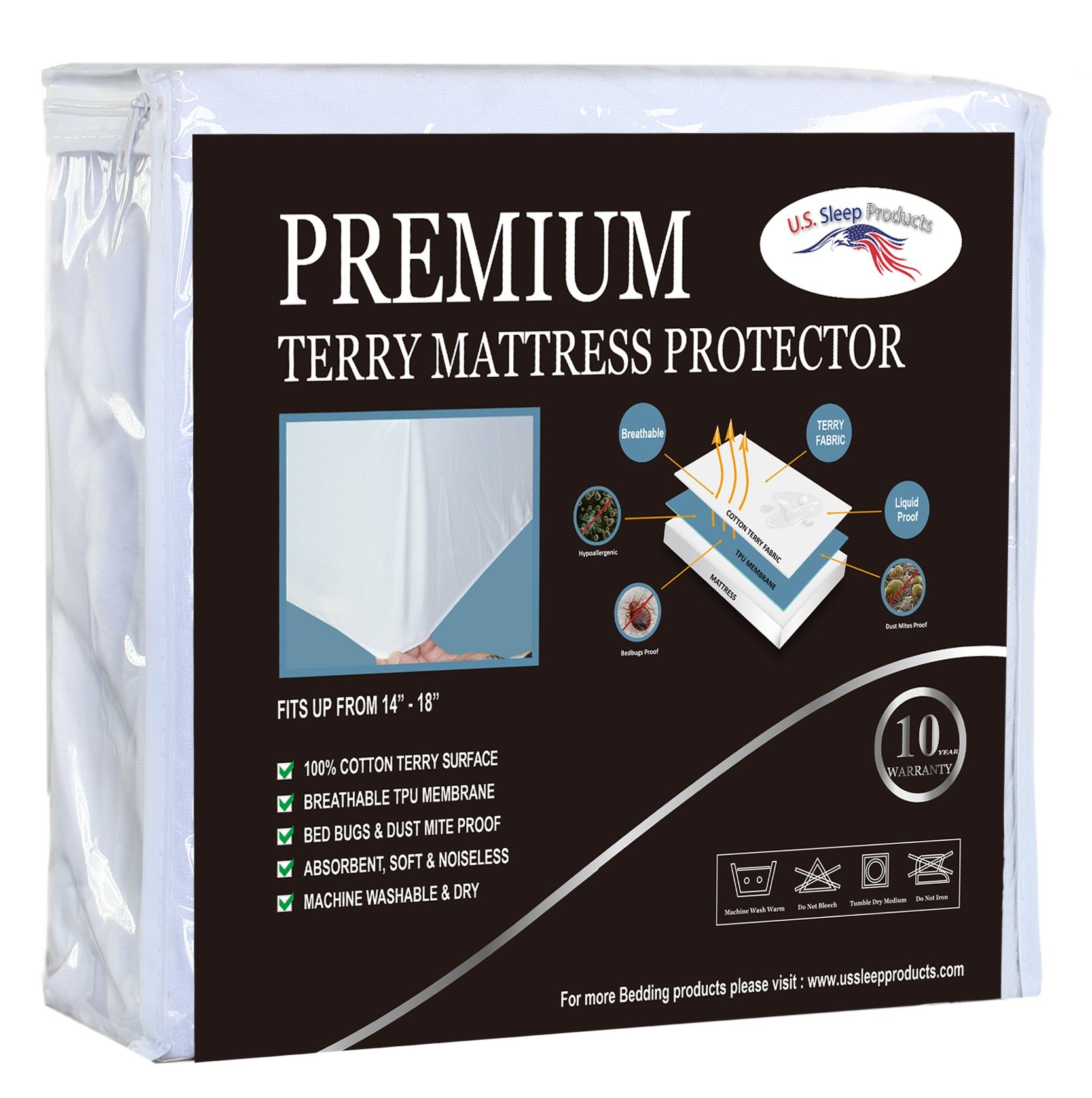 Irvine Home Collection AMTR-38 Premium Terry Mattress Protector, Twin, White