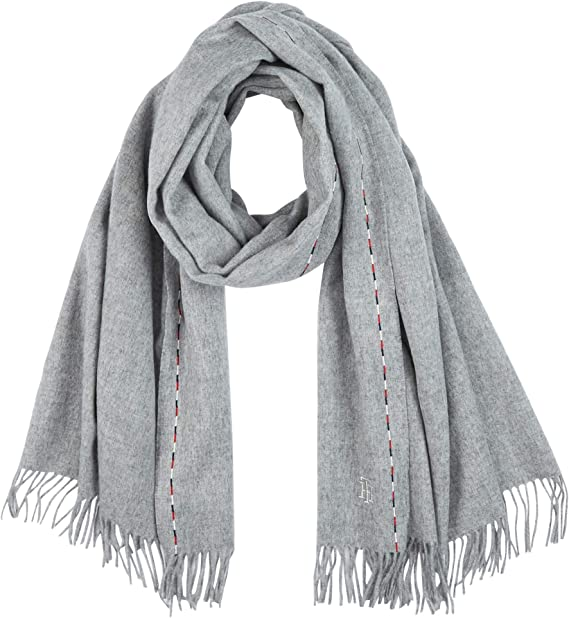 OS Donna Pale Grey Heather Tommy Hilfiger Tjw Basic Flag Rib Scarf Set di accessori invernali