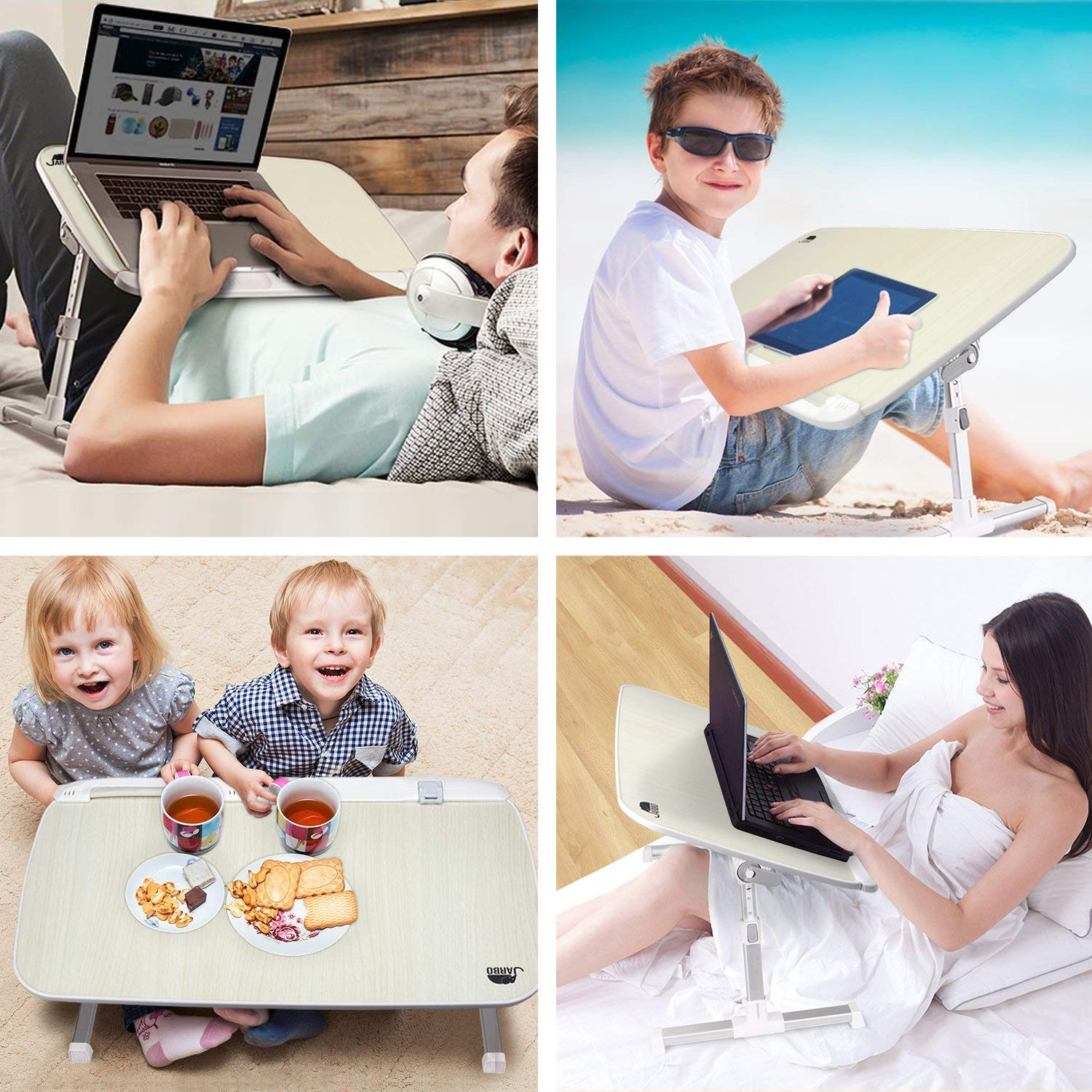 Laptop Stand for Bed Foldable Table Portable Desk Bed Desk JARBO Adjustable Laptop Desk Not for Left Handed People Laptop Table Bed Tray Bed Table