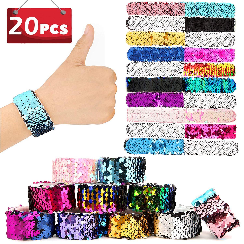 SCIONE Mermaid Slap Bracelets 20 Pack Party Favors Kids Christmas School Classroom Prizes Girls Dance Birthday Party Pack Flip Sequin