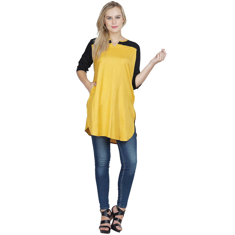 776d3f53a44ee9 Patrorna blended girls dual tone tunic tops in black mustard blmu clothing  accessories jpg 1500x1500 Mustard