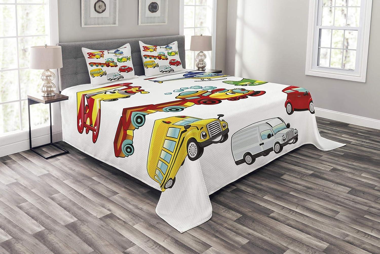 Lunarable Boy's Room Bedspread Set Twin Size, Toys Style Vehicles Car Train Plane Bike Bus Truck Caricature Children Concept, Decorative Quilted 2 Piece Coverlet Set Pillow Sham, Multicolor bed_40671_twin