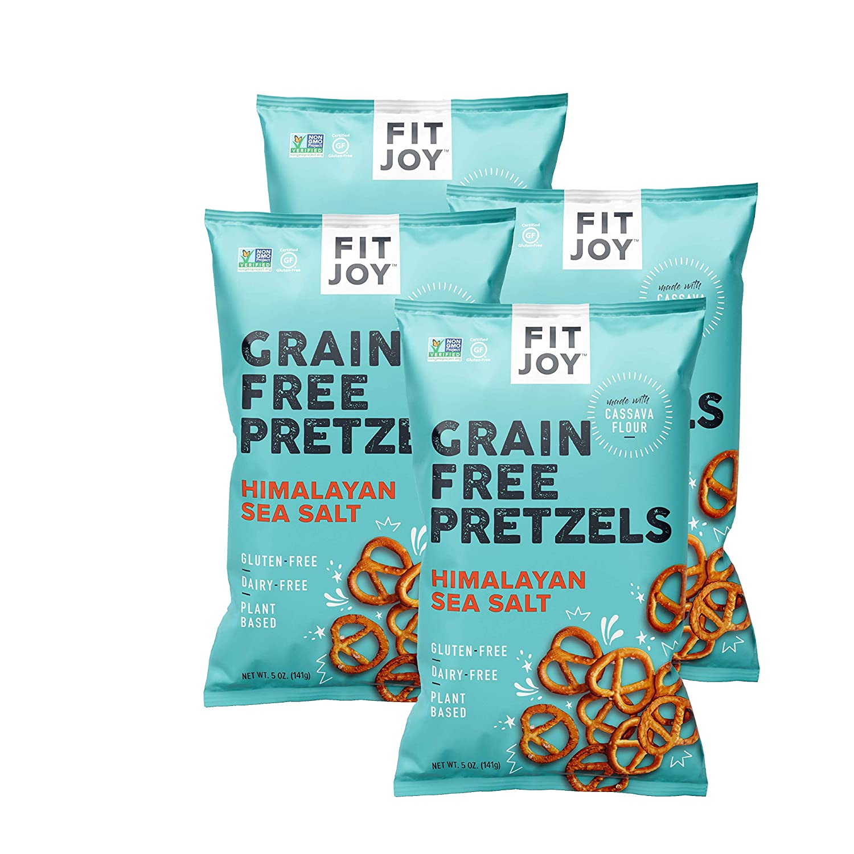 FitJoy Gluten Free Pretzels, Himalayan Pink Salt Twists, Grain Free, 5 Ounce Bags, 4 Pack