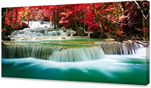 Cao Gen Decor Art-S05162 Wall Art 1 Pieces Waterfall Canvas Print Landscape Paintings Framed Red Trees Forest Canvas Falls Picture for Bedroom Living Room Office Kitchen Home Decor Ready to Hang