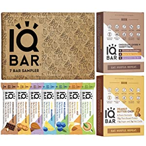 IQBAR Protein Bar (31 Vegan Protein Bars) - Gluten Free, Dairy Free, Keto Snacks - (12) Chocolate Lovers Variety + (12) Peanut Butter Chip + (7) Protein Keto Bars Sampler