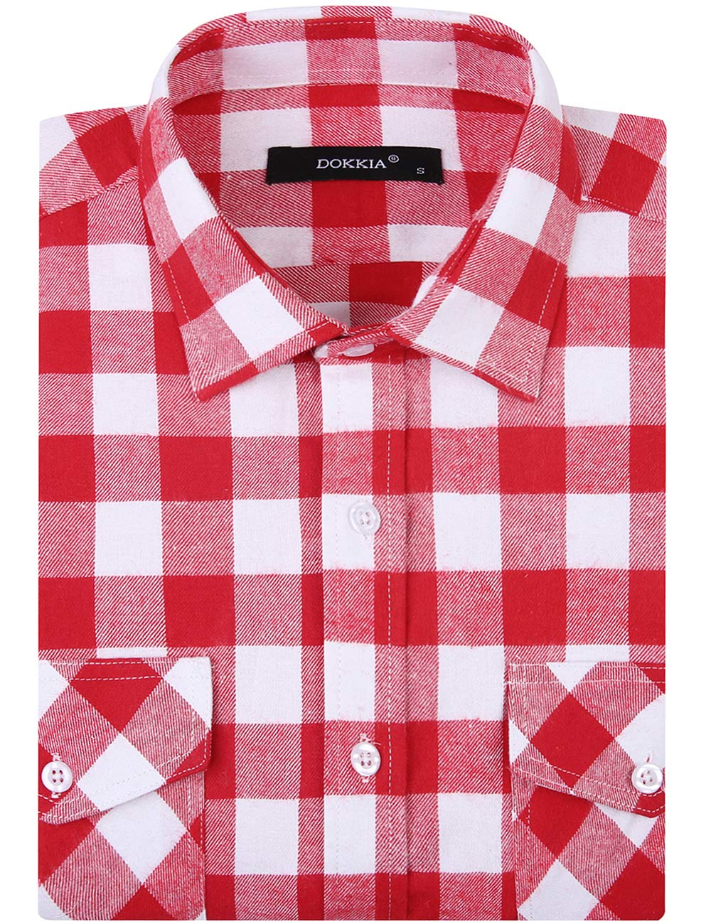 DOKKIA Vardaglig flanellskjorta rutig toppar långärmad buffel pläd arbete klänning blusar jacka Red White Buffalo