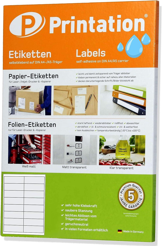 Etichette bianche 99,1 x 34 mm 99,1 x 34 autoadesive con stampante laser stampabili su DIN A4 resistenti alle intemperie 2 x 8 adesivi//pagina 400